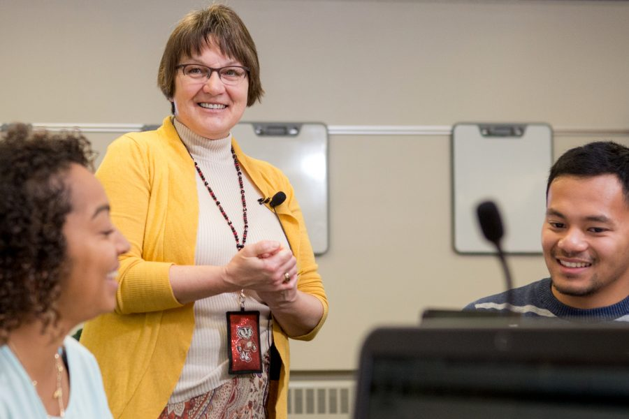 UW-Madison associate professor, Barb King, teaches nursing students in a classroom on campus